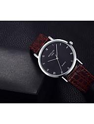 cheap -Men's Fashion Watch Quartz Leather Black / Brown 30 m / Analog Casual - Black Black / Brown White / Brown