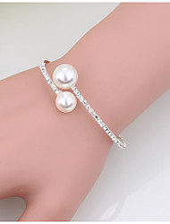 cheap -Women's Cuff Bracelet Tennis Bracelet Fashion Pearl Bracelet Jewelry White / Gold For Christmas Gifts Wedding Party Special Occasion Birthday Engagement / Rhinestone / Valentine