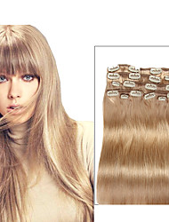 cheap -Clip In Human Hair Extensions Straight Human Hair Extensions Human Hair Women's - Beige Blonde