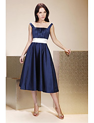 cheap -A-Line / Ball Gown Straps Tea Length Satin Bridesmaid Dress with Draping / Sash / Ribbon