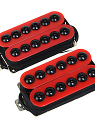 cheap -2PCS 1Set Magnet Red Guitar Humbucker Pickup Set Bridge and Neck Invader Style