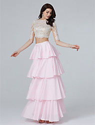 cheap -A-Line / Two Piece Illusion Neck Floor Length Lace / Taffeta Two Piece / See Through / Pastel Colors Cocktail Party / Prom / Formal Evening Dress 2020 with Sequin / Appliques / Tassel