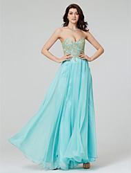 cheap -A-Line Formal Evening Dress Sweetheart Neckline Sleeveless Floor Length Chiffon with Sequin Appliques 2020