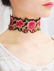 cheap -Women's Choker Necklace Collar Necklace Scarf Necklace Flower Classic Bohemian Basic Cute Fabric Red Necklace Jewelry For Christmas Gifts Wedding Party Special Occasion Halloween Anniversary