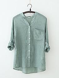 Недорогие -Жен. Однотонный Блуза Винтаж Повседневные На выход V-образный вырез Белый / Синий / Хаки / Зеленый / Серый