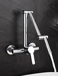 cheap -Kitchen faucet - Single Handle Two Holes Chrome Pot Filler Wall Mounted Contemporary Kitchen Taps