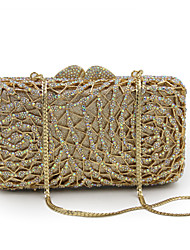 cheap -Women's Bags Metal Evening Bag Crystal / Rhinestone Floral Print for Wedding / Party / Event / Party Sillver Gray / Golden yellow / Black / Gold / Rhinestone Crystal Evening Bags