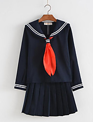 cheap -Student / School Uniform Schoolgirls Adults Women's Cosplay Costume For Polyester Solid Colored Christmas Halloween Carnival Cravat Top Skirt