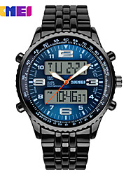 cheap -Men's Dress Watch Quartz Classic Calendar / date / day Multi-Colored Analog - Digital - Black Blue / LED / Large Dial
