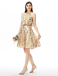 cheap -A-Line Jewel Neck Knee Length Sequined Bridesmaid Dress with Sash / Ribbon / Bow(s) / Sequin / Sparkle & Shine