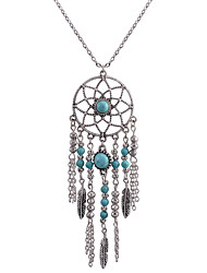 cheap -Women's Turquoise Pendant Necklace Tassel Dream Catcher Ladies Bohemian Fashion Euramerican Alloy Silver Necklace Jewelry For Daily