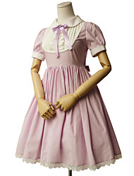 cheap -Princess Sweet Lolita Dress Women's Girls' Cotton Japanese Cosplay Costumes Green / Pink / Ink Blue Solid Colored Short Sleeve Knee Length