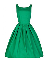 cheap -Women's Kentucky Derby Plus Size Party Going out Vintage A Line Dress - Solid Colored Summer Red Green Blue S M L XL