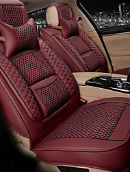 cheap -Four seasons universal  five-seat family car seat cushion/ice silk material and PU leather/fiadjustable and removable/two pillows/two waist pads