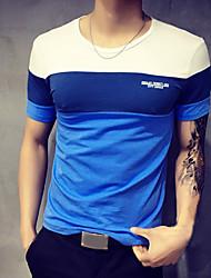 cheap -Men's Daily Sports Weekend Plus Size T-shirt - Color Block Blue & White, Patchwork Round Neck Orange / Short Sleeve / Summer