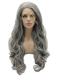 cheap -Synthetic Lace Front Wig Body Wave Synthetic Hair Natural Hairline Gray Wig Women's Long Lace Front