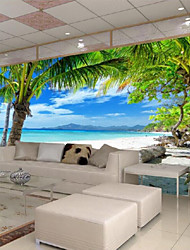 cheap -Seaside View Custom 3D Large Wall Covering Mural WallpaperFit Restaurant Bedroom Office View