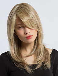 cheap -Synthetic Wig Straight Straight Layered Haircut With Bangs Wig Blonde Long Dark Ash Blonde Synthetic Hair Women's Side Part Blonde Gray StrongBeauty