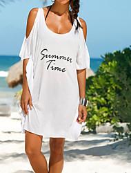 cheap -Women's White Black Purple Cover-Up Swimwear - Letter Print, Cotton One-Size White
