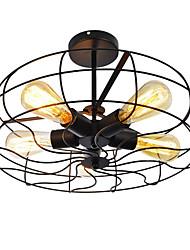 abordables -loft vintage lampes d'éclairage créatif métal semi-affleurant monter la lumière 5 lumières fini finition lustre ventilateur industriel