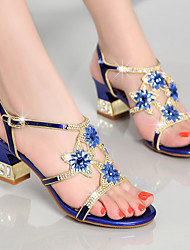 cheap -Women's Sandals Chunky Heel Rhinestone  PU(Polyurethane) Summer Gold / Purple / Blue / Party & Evening / Party & Evening / EU40