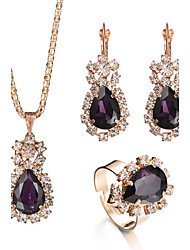 cheap -Women's Crystal Amethyst Pendant Ring Necklace / Earrings Pear Cut Solitaire Drop Ladies Luxury Fashion Elegant Bridal Crystal Rhinestone Earrings Jewelry Purple / Red / Green For Christmas Gifts