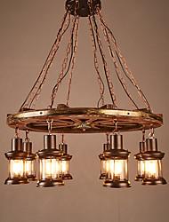 Недорогие -8-Light 76 cm Мини Подвесные лампы Дерево / бамбук Стекло промышленные Окрашенные отделки Ретро 110-120Вольт / 220-240Вольт