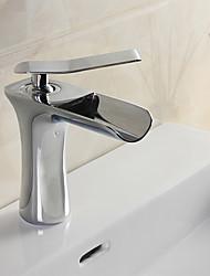 cheap -Contemporary Modern Centerset Waterfall Ceramic Valve Single Handle One Hole Chrome, Bathroom Sink Faucet