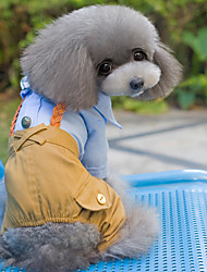cheap -Dog Jumpsuit Dog Clothes British Pink Light Blue Cotton Costume For Spring &  Fall Winter Men's Women's Holiday Fashion