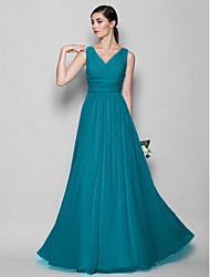 cheap -A-Line / Sheath / Column V Neck Floor Length Georgette Bridesmaid Dress with Criss Cross / Open Back