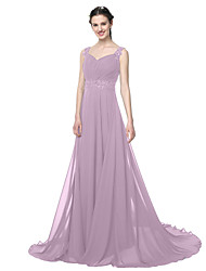 cheap -A-Line Straps Floor Length Chiffon Bridesmaid Dress with Beading / Appliques / Pleats