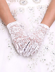 cheap -Spandex / Lace / Cotton Wrist Length Glove Charm / Stylish / Bridal Gloves With Embroidery / Solid