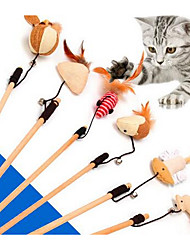 cheap -Feather Toy Mouse Toy Cat Teasers Interactive Toy Mice & Animal Toy Bells Interactive Cat Toys Fun Cat Toys Cat Kitten 2 Durable Fabric Plastic Gift Pet Toy Pet Play