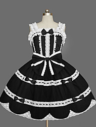 cheap -Princess Gothic Lolita Punk Summer Dress JSK / Jumper Skirt Women's Girls' Cotton Japanese Cosplay Costumes Black Solid Colored Bowknot Cap Sleeve Sleeveless Short / Mini / Gothic Lolita Dress