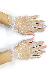 cheap -Tulle Net Wrist Length Glove Bridal Gloves Party/ Evening Gloves With Ruffles