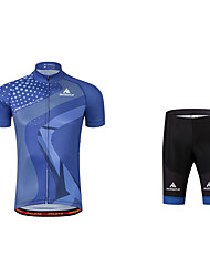 cheap -Men's Cycling Jersey with Shorts Navy Blue Bike Clothing Suit 3D Pad Reflective Strips Sports Polyester Coolmax® Mountain Bike MTB Road Bike Cycling Clothing Apparel / Stretchy