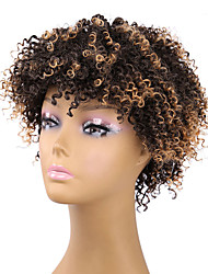 cheap -Synthetic Wig Curly Afro Curly Afro Wig Short Brown Synthetic Hair Women's Brown
