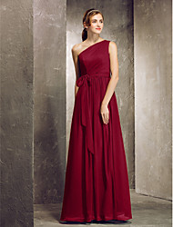 cheap -Sheath / Column One Shoulder Floor Length Chiffon Bridesmaid Dress with Side Draping