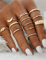 cheap -Ring Gold Rhinestone Zinc Alloy Princess Animal Bowknot Ladies Unusual Geometric 12pcs / Women's / Rings Set