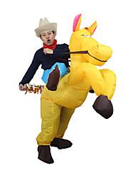 cheap -Horse Cosplay Costume Halloween Props Inflatable Costume Men's Women's Movie Cosplay Halloween Yellow Leotard / Onesie Air Blower Halloween Polyester