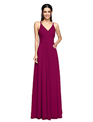 cheap -Sheath / Column Spaghetti Strap Floor Length Chiffon Bridesmaid Dress with Side Draping / Criss Cross by LAN TING BRIDE® / Open Back