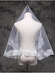 cheap -One-tier Lace Applique Edge Wedding Veil Elbow Veils / Fingertip Veils with Appliques Lace / Tulle / Classic