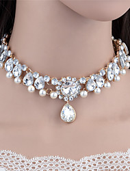 cheap -Women's Choker Necklace Pendant Necklace Collar Necklace Drop Ladies Luxury Dangling Fashion Imitation Pearl Rhinestone Alloy Gold Silver Necklace Jewelry For Christmas Gifts Wedding Party Special