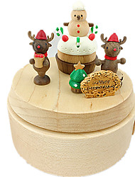 cheap -Music Box Square Holiday Supplies Wood Unisex