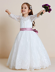 cheap -Ball Gown Floor Length Wedding / First Communion Flower Girl Dresses - Lace / Tulle Long Sleeve V Neck with Lace / Sash / Ribbon / Bow(s)