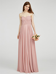 cheap -A-Line Sweetheart Neckline Floor Length Chiffon Bridesmaid Dress with Criss Cross / Ruched