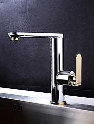 cheap -Kitchen faucet - Single Handle One Hole Ti-PVD Standard Spout Centerset Art Deco / Retro Kitchen Taps