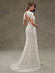 cheap -Sheath / Column Jewel Neck Floor Length Sheer Lace Short Sleeve Open Back / See-Through Wedding Dresses with Lace / Sash / Ribbon / Draping 2020 / Illusion Sleeve