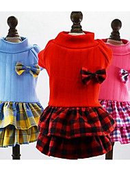 cheap -Dog Dress Dog Clothes Princess Red Blue Pink Cotton Costume For Winter Women's Casual / Daily Fashion