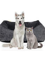 Недорогие -Кошка Собака Кровати Ткань Плюш Животные Коврики и подушки Однотонный Мягкий Серый